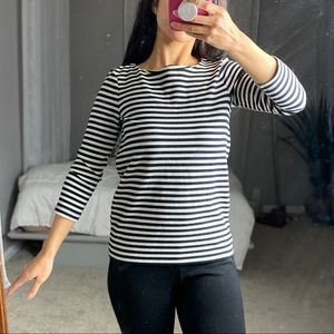Ann Taylor Striped Three-Quarter Sleeve Shirt